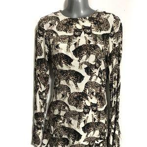 H&M Ruffle Bell Long Sleeve Tiger Print Dress Sz 4